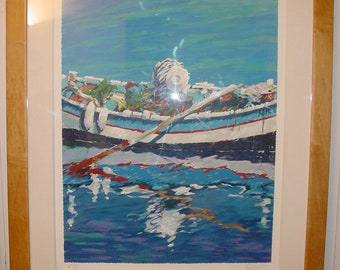 Fishing Day by Aldo LUONGO. Limited Edition 25/25 Large Serigraph on Paper