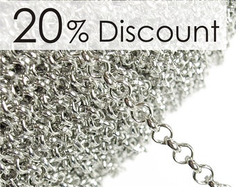 CHISP-RO50 - Chain, Rolo 5mm, Silver - 5 Meters