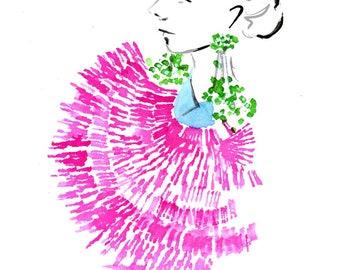 Delpozo Spring 2017 03 Art Print Fashion Illustration, Fashion Sketch, Fashion Art, Watercolour Illustration