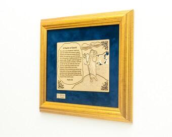 Framed David Psalm 22K Gold Finished Artwork of Religious Prayer. Art Also Available in Spanish