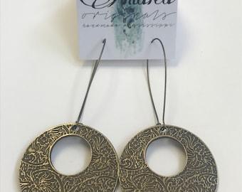 Antique Brass Disc Earrings