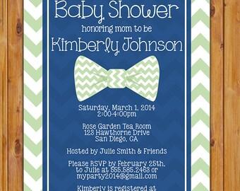 Little Man Bow Tie Baby Shower Invitation Navy Blue Mint Green Chevron Shower Invite 5x7 Digital Invite (157_mint)