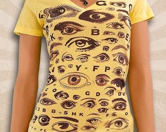 Vintage Eye Chart T Shirt - Cute Retro Eyeball Shirt - Deep V-Neck T Shirts - Scoop Neck T Shirt