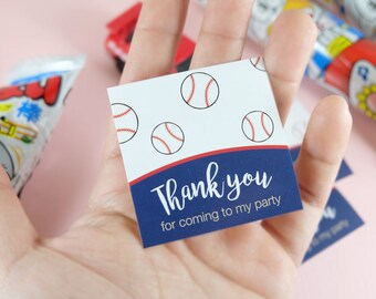 10 Stickers! Baseball Thank You Stickers, party favors, birthday party, children stickers Set of 10