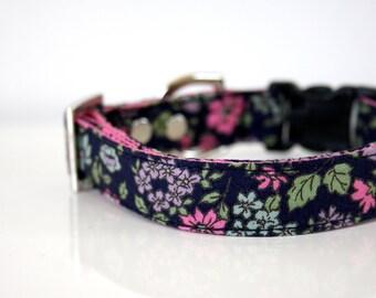Midnight in the Meadow Dog Collar - dark blue, pink, green - Silver