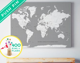 Outdoors gift world map canvas rustic gray color ready to custom large world map canvas gray white personalized gift 240 pins 198 world gumiabroncs Gallery