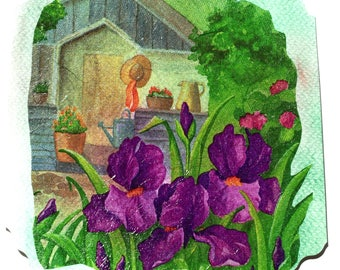 """Hand made card and matching envelope """"Les Iris""""."""