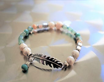 Silver feather bracelet, amazonite, freshwater pearls and Czech Crystal beads cubes