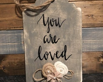 "Wooden embellished tag ""you are loved"""