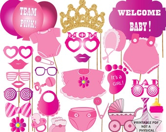 """Baby Shower Photo Booth Props: """"GIRL BABY SHOWER"""" It's A Girl Booth Props,Team Pink,Printable Party Props,Baby Shower Photobooth Props"""