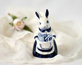 Vintage Potting Shed Dedham Pottery Mother Bunny with Basket Figurine - Blue and White Crackle Glaze Rabbit Knick Knack