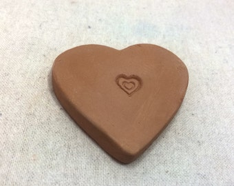 Handmade terracotta sugar keeper/ essential oil diffuser- heart with heart stamp, in white mesh gift bag- brown sugar saver, valentine's day