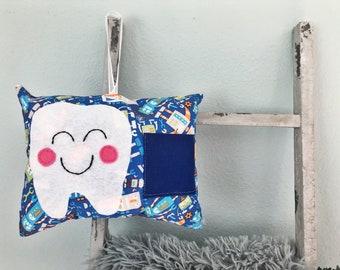 Tooth fairy pillow - boys / blue robots