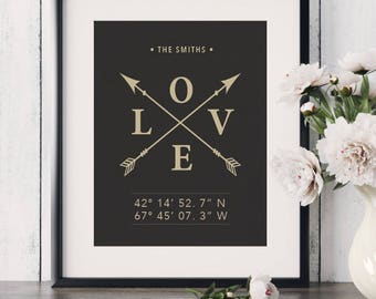 New Home Gift Housewarming Gift Latitude Longitude Unique Wedding Gift Love Gift Personalized Art GPS Coordinates Gift For Couple