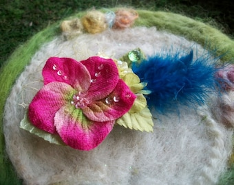 Small Feather Hair Clip, Vintage Tulle and Hydrangea Blossoms