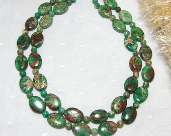 Emerald Green Swirl Beads Turquoise Double Strand Statement Necklace