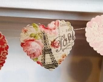 Paris Themed Wedding Garland, Vintage Tea Party Heart Banner, Rustic Wedding Garland, Wedding Bunting, Pretty Heart Garland., Hen Party.