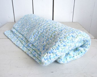 Crochet Baby Blanket Handmade Boys Blue Green Shell Stitch Blanket Knit Stroller Blanket 34 x 31 Inches