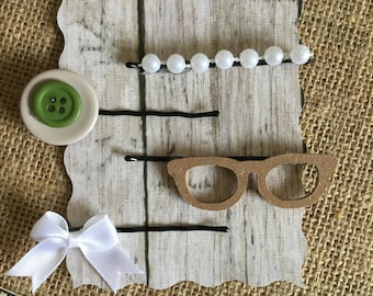 Set of 4 Off White, Green, and Beige vintage inspired bobby pins