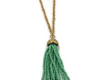 Tassel Necklace, Mint Seed Bead Tassel Necklace, 30 Inch Long Gold Chain with 2 inch Extender, Long Tassel Necklace, Beaded Tassel Necklace