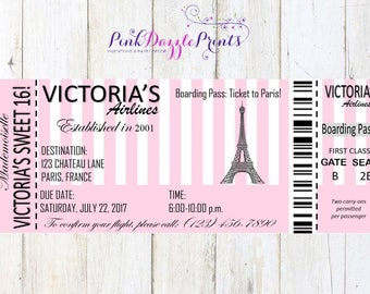 Printable Sweet 16 Paris Boarding Pass Invitation- Digital File- Any Occasion