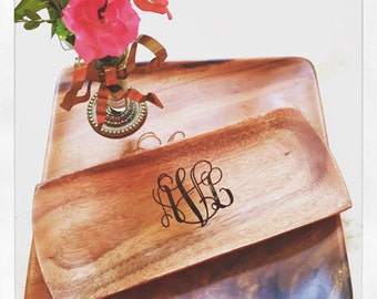 Wood Tray Personalized - Engraved Wood Tray - Initials on Wood - Monogrammed Wood Tray - Serving Tray - Hostess Gift - Trinket Tray - W0058E