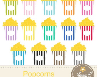 Movie Popcorn Clipart for Planners, Digital Scrapbooking, Invitations, cupcake toppers, Stickers, Labels