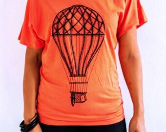 Women's T-shirt Hot Air Baloon Design Vintage 3 Colors Black Orange Green
