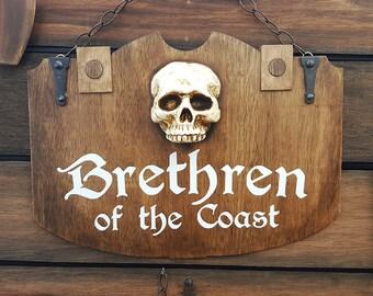 "Pirate Pub Signs 24""x18"" wooden vintage Brethren of the Coast"