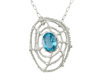 Sterling Silver Necklace, Statement Necklace with Oval Blue Topaz, Spider Web Jewelry