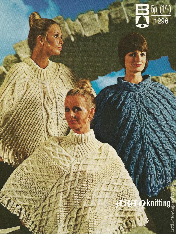 Ladies Aran Poncho Knitting Patterns - 3 designs - PDF Aran knitting ...