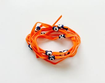 Orange Suede Evil Eye Lucky Eye Beads String Wrap Bracelet Choker Necklace Anklet Hair Accessory