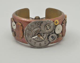 Steampunk Cuff Bracelet - Polymer Clay Cuff - Bracelet for Women - Gift for Her - Steampunk Jewelry - Handmade Steampunk Cuff Bracelet