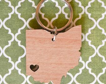 Cincinnati, Ohio Love Wood Key Ring