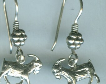 Sterling Silver GOAT Earrings -- French Earwires -  NANNY GOAT - 3-Dimensinal