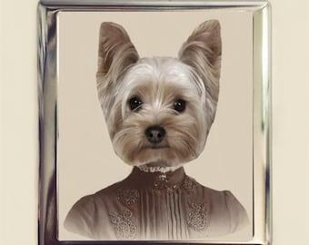Victorian Yorkie Cigarette Case Business Card ID Holder Wallet Dog Animal Art Anthropomorphic Pop