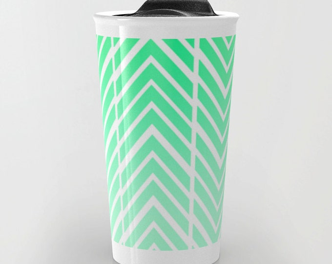 Mint GreenTravel Mug - Mint Green and White - Coffee Travel Mug - Hot or Cold Travel Mug - 12oz Travel Mug - Made to Order