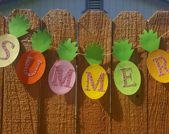 PINEAPPLE SUMMER GARLAND-Big--7x7--Any Color--Pool Party--Birthday-Summer