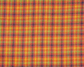 Cotton Homespun Material | Orange Check Material | Cotton Material | Rag Quilt Material | Home Decor Material | Sewing Material