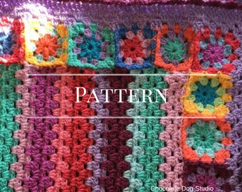 Crochet Pattern, Granny Stripe Baby Blanket pattern, Noelle's Blanket,