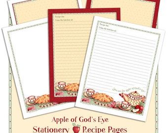 Apple of God's Eye Printable Recipe Paper or Stationery Bible Verse Scripture Christian Religious