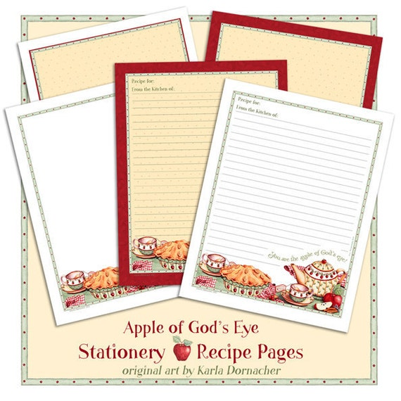 apple of gods eye printable recipe paper or stationery