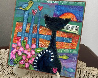Black Whimsical Cat 6x6 Giclee on Masonite Hardboard-Elizabeth Claire