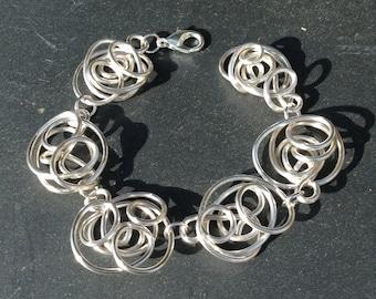Handmade Freeform Silver Wire Bracelet.    Chunky Statement Bracelet