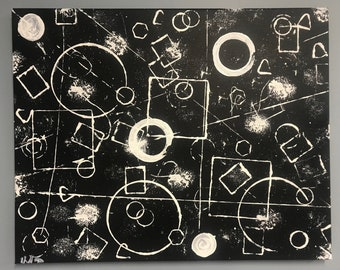 Abstract Black and white shapes painting