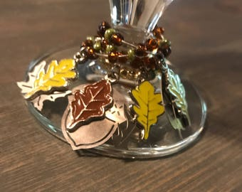 Fall Wine Charms set of 4 ; acorns, fall leaves, fall is in the air