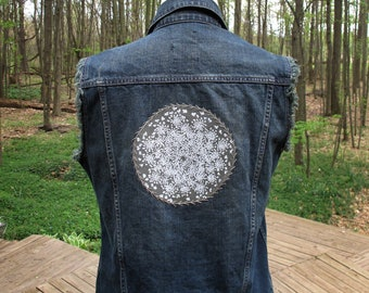 Denim Vest - Queen Anne's Lace Patch with Embroidery