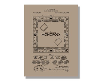 Monopoly wall art etsy monopoly gaming patent poster blueprint style screen print hand made wall art in malvernweather Choice Image