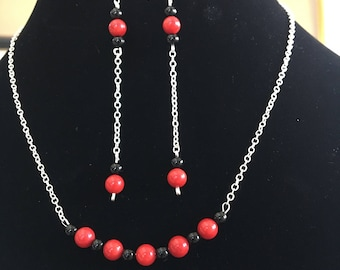 Red coral, black onyx jewelry set