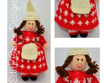 Doll Knitting Pattern - Christmas Elf - Knit Doll - Toy Knitting Pattern - Denmark Doll - Doll Making - Amigurumi Toy - Christmas Doll